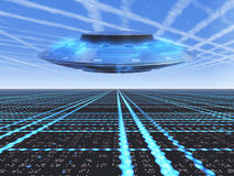 Background Grid UFO. A infinite grid horizon with a flying UFO Royalty Free Stock Image