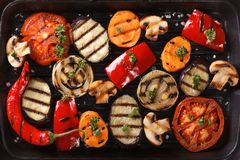 Background of grilled vegetables close up. Horizontal top view Royalty Free Stock Photo