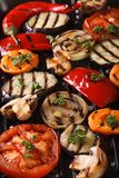 Background of grilled vegetables on the grill vertical top view Stock Photo