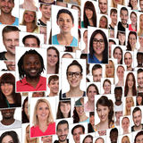 Background group of multiracial young happy smiling people integration refugees. Collage stock photography
