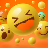 Background with group of smiley emoticons Stock Images