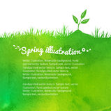 Background with growing sprout. Watercolor vector background with growing sprout Stock Images