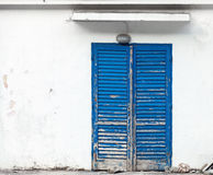 Background with grunge blue wooden door Royalty Free Stock Image
