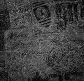 Background in grungy style with shirts, stamps, worn out drawings. Stock Images