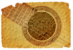 Background with guitar. Image of the background with acoustic guitar in grunge style stock illustration