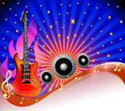 Background with guitar and row amongst stars Stock Photography