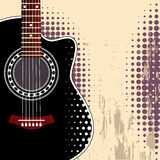 Background with guitar. Vector grungy background with black acoustic guitar Stock Photo