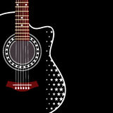 Background with guitar. Vector grungy background with black acoustic guitar Royalty Free Stock Photo