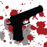 Background with gun. And blood spots Stock Photography