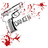 Background with gun and blood spots Stock Images