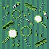 Background with hair care objects. On green Stock Images