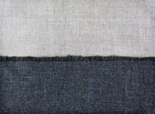 Background half of textile fabrics and half of linen Royalty Free Stock Images
