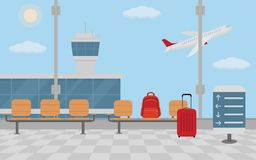 Background of hall at airport. Flat style, vector illustration Royalty Free Stock Photography