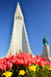 Background with The Hallgrímskirkja blurred Stock Photography