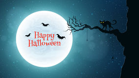 Background for Halloween. Back cat walks through the tree. Bats fly against the background of the full moon. Bloody red Stock Image