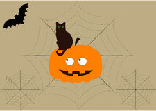 A background on Halloween with bat,cat, pumpkin and cobwebs Stock Photo
