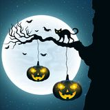 Background for Halloween. Black cat on the tree. Bats fly against the background of the full moon. Halloween pumpkins with glowing royalty free illustration