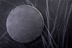 Background for Halloween. Black Moon and spider web. Dark light. Royalty Free Stock Image