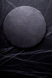 Background for Halloween. Black Moon and spider web. Dark light Stock Photography
