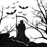 Background for halloween death with a scythe Stock Image