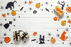 Background with Halloween decoration on white wooden table. Blan Stock Images