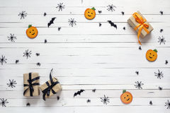 Background with Halloween decoration on white wooden table. Blan Royalty Free Stock Images