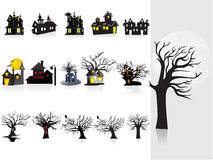 Background with halloween house, tree Stock Photography