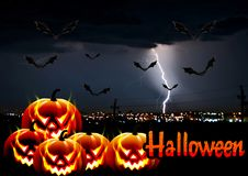 Background for Halloween. Lightning over the city. Bats, pumpkins Royalty Free Stock Images