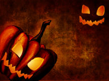 Background with halloween luminous pumpkin Stock Photos