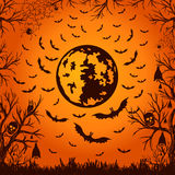 Background for Halloween moon and bats Stock Photography