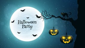 Background for Halloween party. Black cat walks through the tree. Bats fly against the background of the full moon. Halloween pump Stock Photography