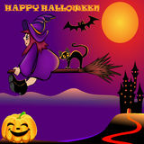 Background halloween with pumpkin and house Stock Images