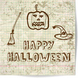 Background on Halloween with a pumpkin-style sketch Royalty Free Stock Photography