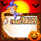 Background Halloween with the Scarecrow and pumpki Royalty Free Stock Photos