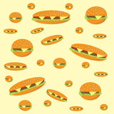 Background with hamburgers and cheeseburgers. Abstract vector background with hamburgers and cheeseburgers vector illustration