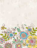 Background of hand draw flowers, vector royalty free illustration