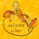 Background with hand drawing autumn leaves Royalty Free Stock Photos