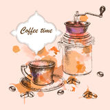 Background with hand-drawing sketch coffee time Royalty Free Stock Photography