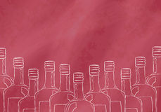 Background with hand drawn bottles for the bar, restaurant or cafe visitors that sell alcoholic beverages. Vector Royalty Free Stock Image