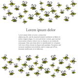 Background with hand drawn cartoons bees, Lorem ipsum stock vector illustration. For design Stock Photos