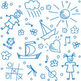 Background with hand drawn children motives Royalty Free Stock Photo