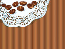 Background with hand drawn coffee beans Stock Image