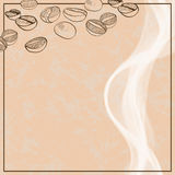 Background with hand drawn coffee beans Stock Photography