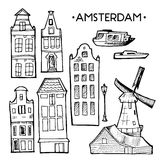Background with hand drawn doodle Amsterdam houses. Isolated black and white. Illustration vector. Royalty Free Stock Photo