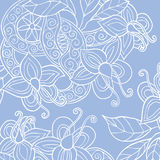 Background with hand drawn flowers, leafs and ribbon. Square background with hand drawn flowers, leafs and ribbon with swirl. Vector illustration Royalty Free Stock Images