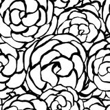 Background with hand drawn gentle roses. Seamless floral background with hand drawn monochrome roses. Abstract vintage background with floral retro element stock illustration