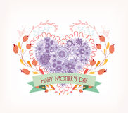 Background With Hand Drawn Heart For Mother's Day Stock Image