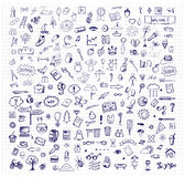 Background with hand drawn ink school doodles Stock Photo