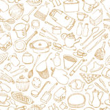 Background with hand drawn kitchen goods. Royalty Free Stock Photo