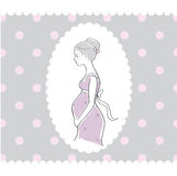 Background with hand drawn pregnant woman Royalty Free Stock Images